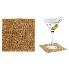 Coasters Individual PVC 9 x 9 cm Gold 12 units