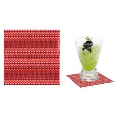 Coasters Individual PVC 9 x 9 cm red stripes 12 units