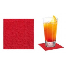Individual PVC coasters 9 x 9 cm red 12 units