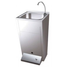 Washbasin 1 pushbutton cold and hot water with pedestal