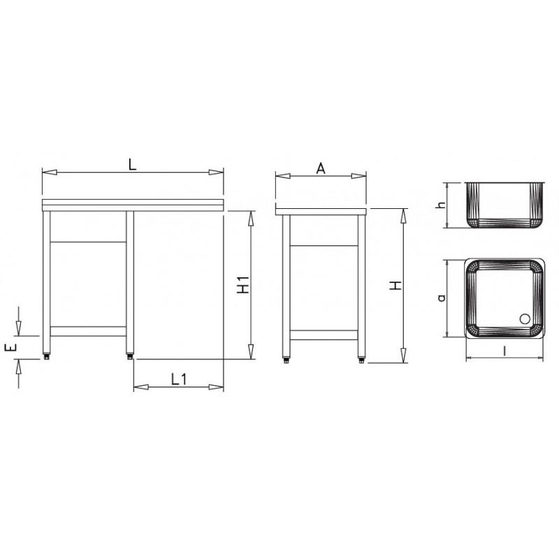 Fregadero para lavaplatos 1 seno izq 120 x 60 x 89 cm for Dimensiones fregadero