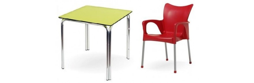 Tables and stackable chairs