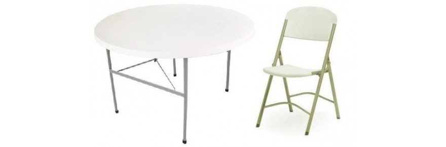 Tables and folding chairs